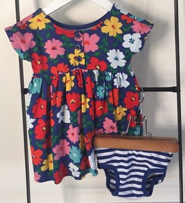 NWOT HANNA ANDERSSON 2pc Knit Floral Dress & Striped Bloomers Sz 2 Hanna 85