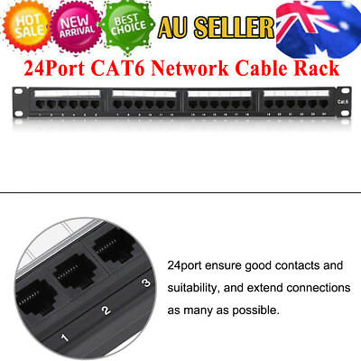 """24 Port CAT6  Data Patch Panel 19"""" Network Cable Rack Mount Home / Office Use"""