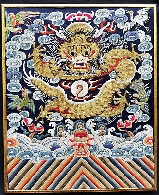 Qing Dynasty Chinese Embroideredd Silk Five Toe Dragon (framed)