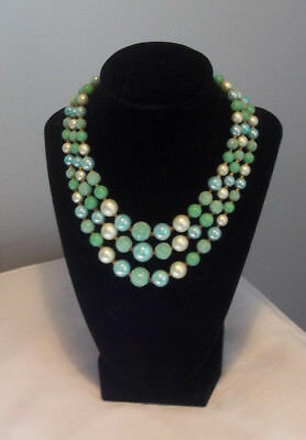 Vintage Triple Strand Necklace Graduated Beads Blue 14 1/2