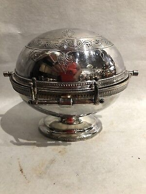 Vintage Butter Silverplate Domed Flip Lid Oval Dish w/ Drainer Footed