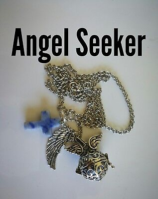 Code 801 Sodalite Cross Angel Seeker Baby Caller Musical Ball Infused Necklace