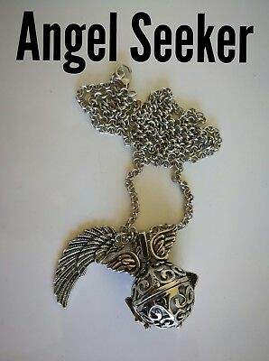 Code 800 Angel Seeker Baby Caller Musical Ball Infused Necklace Silver Wing