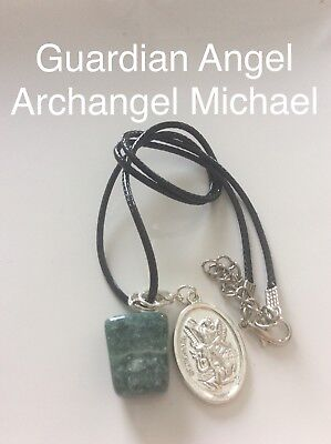 Code 264 Indian Agate Archangel Michael Guardian Angel infused Charged necklace