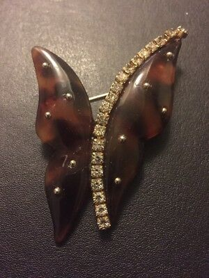 Vintage Lucite Rhinestone Butterfly Pin