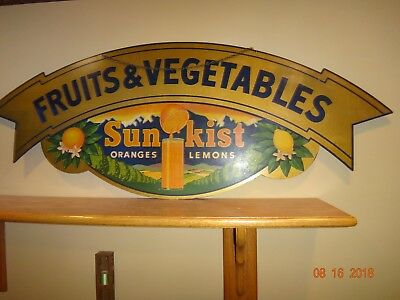 Rare 1920-30 Double Sided Die Cut Sunkist Fruits & Vegetables Grocery Store Sign