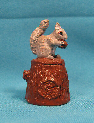 Vintage Squirrel Painted Enamel Metal Collectible Figurine on Sewing Thimble