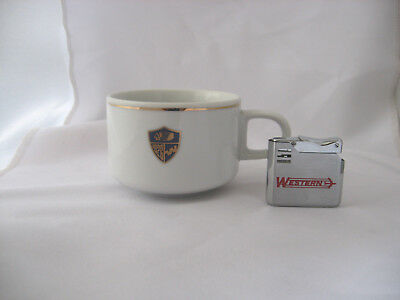 Western Airlines 60th Anniversary Coffee Cup w/Vintage Lighter/Lot of 2 Items