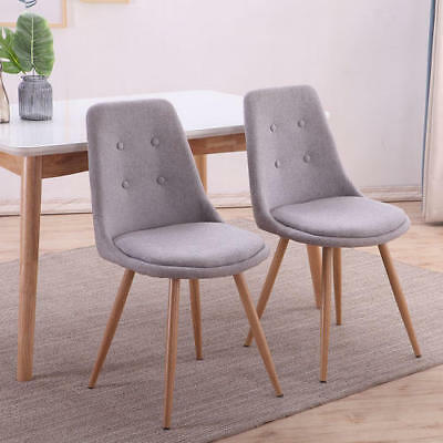 Stockholm Fabric Linen Dining Chairs Living Room Office Light Grey