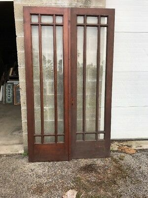 MAR221 matched pairAntique Birch double glass nine light French doors 47.75 x 8…