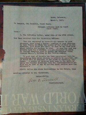 March 1, 1917 document to keepers inre: Articles sent to Coast Guard Store