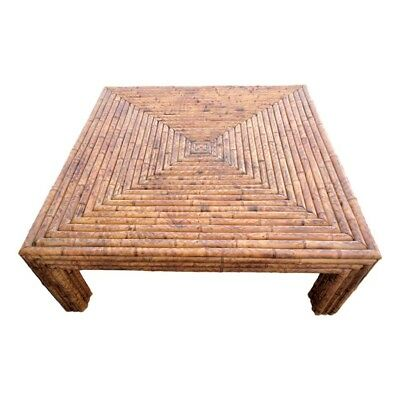 Vintage Large Split Reed Burnt Bamboo Rattan Coffee Table Square Stacked Wrapped