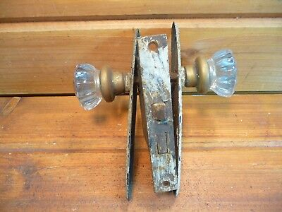 Vintage Glass Handle Door Hardware w Plates & Latch Antique