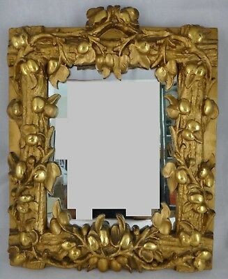 "Rare Aesthetic Period carved & Gilt Floral Design Mirror. 2nd ½ 19th c. 14"" x 12"