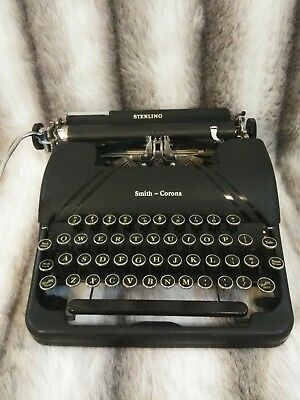 Smith Corona Sterling Portable Typewriter Floating Shift w/ Case 1940's VG+