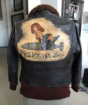 WW2 VT-169 US Navy Brown Leather Bomber Flight Jacket Hand Painted Pin Up Girl