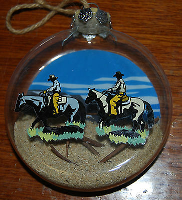 Cowboy Western Christmas Tree Ornament Glass Sand Horses Rope Trail Riding NICE