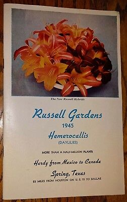 Vtg 1945 RUSSELL GARDENS daylilies flower catalog SPRING TEXAS daylily day lily