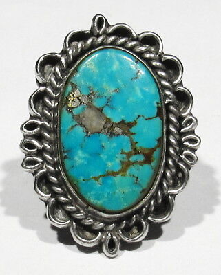 Big Old 70s Signed Navajo Natural Quartz in Kingman Turquoise 925 Silver Ring 7