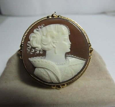 Vintage Unusual 14K Gold Hand Carved Shell Cameo