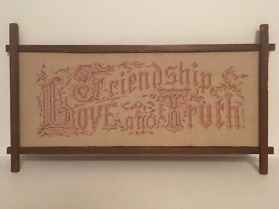 """Vintage Hand Embroidered """"Friendship, Love and Truth"""" Wall Needlepoint Wall Art"""
