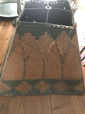 Antique Victorian Leather Like Heavy Paper  Lamp Shade. Arts And Crafts