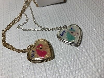 Justice Girls Costume Jewelry Necklaces BFF Unicorn Heart Locket Glitter