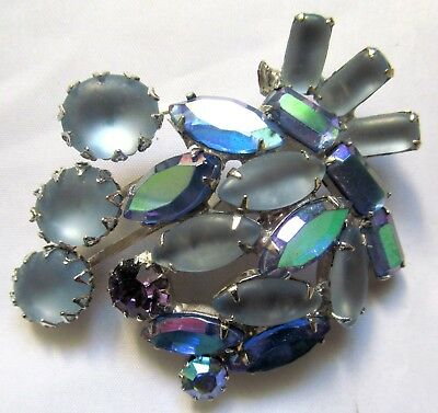CONTINENTAL Vintage Mold Glass And Aurora Borealis  Blue Color Stones Brooch