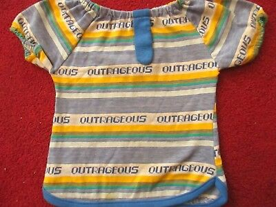 "sz 5 Vtg 70s Girls THIN KNIT Stretch Knit Hippy PRINTED ""OUTRAGEOUS"" Top T-Shirt"