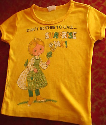 sz 5T 5 True Vtg 1970s  Girls RELIC Yellow HIPPIE GIRL PRINT KNIT T-SHIRT