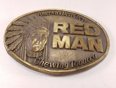 Vintage 1988 REDMAN CHEWING TOBACCO Belt Buckle Chew Chaw Tobacco Apparel 80s
