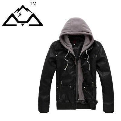 Fashion Mens PU Leather Casual Jacket Slim Fit Motorcycle Hooded Coat Dress TOP
