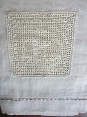 "Monogram ""A"" Huck Linen Hand Towel Stripe Damask 29.5 x 18"" Ivory Filet Crochet"