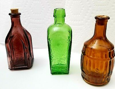 Wheaton Miniature 3 Inch Colored Red Green Glass Bottles Lot of 3