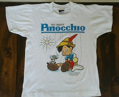 VTG PINOCCHIO Authentic Americas Favorites Scren Stars T SHIRT White Disney