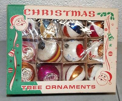 "Nice! 3"" 12 Vtg POLAND Christmas GLITTER ORNAMENTS /TEARDROP & Round DEEP INDENT"