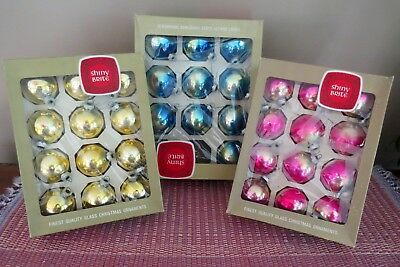 Mixed Lot Vintage Shiny Brite Glass Christmas Tree Ornaments in Boxes 35 Pieces