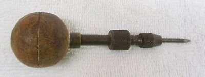 Vintage Antique FRENCH SCRATCH AWL Revolving Wood Handle Scribe Tool Made France