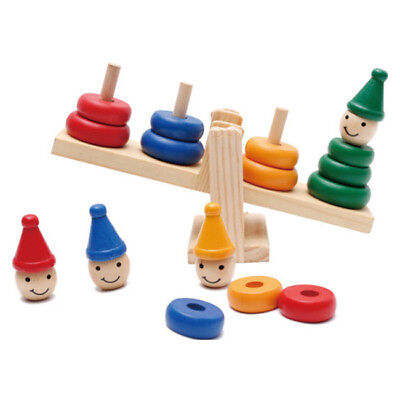 Educational Wooden Clown Balance Stacker Balance Scale Board Kids Toy B