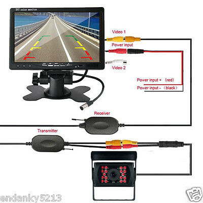 "Wireless IR Rear View Backup Camera Night Vision Kit+7"" Car Monitor For RV Truck"