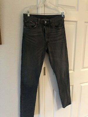 New Levis 501 S Skinny Button Fly Black/Gray Denim Size 29 L30