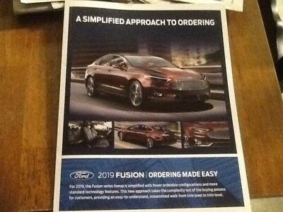2019 Ford Fusion ordering made easy guide brochure new