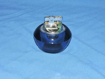 Vintage 60s Viking Art Glass Cobalt Blue Cigarette Lighter Table Top Epic Line