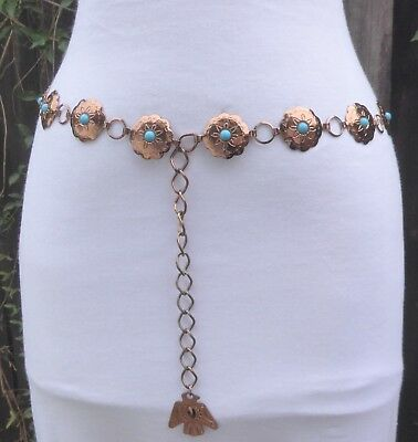 """Vtg. faux.Turquoise Copper Tone Metal Embossed Concho Chain Belt 38"""" long"""