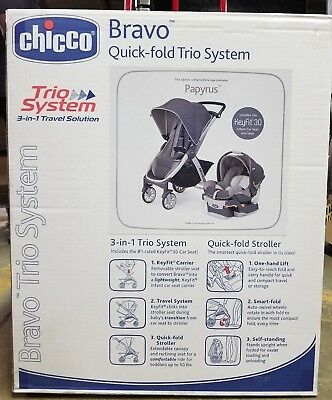 Chicco Bravo 3 In 1 Trio Travel System In Papyrus Color Scheme KeyFit 30 NEW!