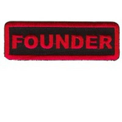 Founder  Motorcycle Club - Red On Black Embroidered Iron On  Patch