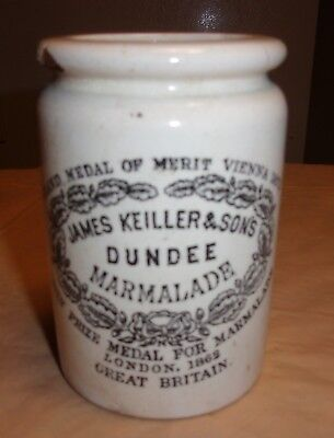 19 C. James Keiller & Sons Dundee Marmalade Ink Decorated Stoneware Jar Crock