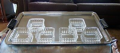 Vintage Rare Serving Tray Chrome Toastmaster With 6 Glass Dishes