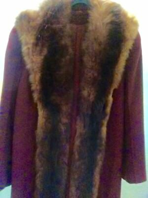 Wool coat with red and black coloring Fox Fur ~Fully lined Very vintage