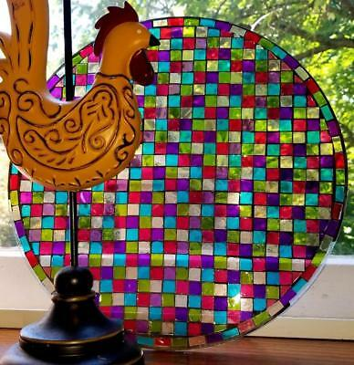 Vintage Mosiac Stained Glass, Round Hand Made Panel, Tabletop Window Wall Decor